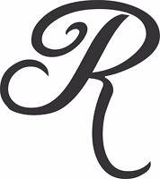 "Metal Wall Art Decor  Initial ""R""  6 inches tall in Satin Black"