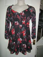 BNWT £55 UK 14 LIPSY Dress Mixed Floral Print Long Sleeve Black Red Pink Button