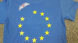 Brexit 52% flyaway T-shirt. Winged Union flag star on EU background , We Won!