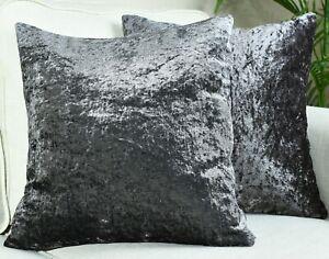"Pair Of Luxury Crushed Velvet Cushion Covers Plain17""X17"",20""X20"",22""X22"",24""X24"