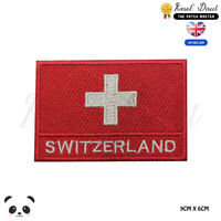 Switzerland National Flag With Name Embroidered Iron On Sew On PatchBadge