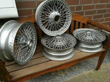 "Jaguar E 1 2  Speichenfelgen 5"" x 15""  W52 ""Curly Hub""  4 wire wheels X472"