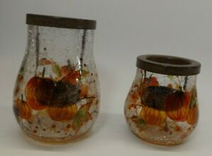 2/Set~Yankee Candle PUMPKIN CRACKLE Glass Tealight Holders