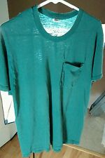 Vtg 80s Distressed Worn Beat Blank Paper Thin Pocket T Shirt L Work Green Holes