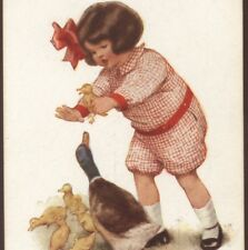 "META GRIMBALL..""THE CAPTIVE"" GIRL SNATCHES BABY DUCK,1912,GUTMANN,OLD POSTCARD"