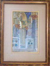 Louis SAINT-BLANCAT 1842-1930.Intérieur d'église.Aquarelle.24x15.Titrée.Cadre.