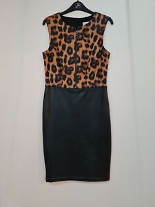 Joseph Ribkoff 193545 sleeveless shift style dress black/leopard print uk10 REDU
