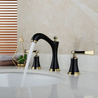 3 Holes Deck Mount Bathroom Basin Vessel Sink Mixer Faucet 2 Handles Brass Taps