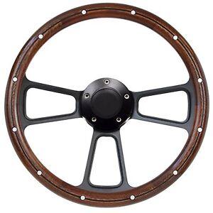 1967-69 Mercury Cougar Mahogany & Black Billet Steering Wheel + Full Adapter Kit