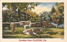 Postcard GA Greetings From Claxton Cows In Pasture Vintage Georgia Linen PC