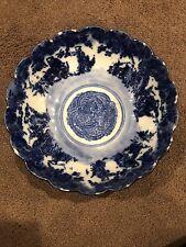 Rare Antique Flow Scalloped Edge Bowl blue And white