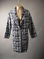 Women Black White Graphic Check Plaid Pattern Long Jacket 248 mv Blazer S M L