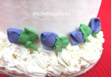 36 Mini Violet  Rosebuds w. Leaves Sugar Icing Cake & Cupcake Topper Flowers