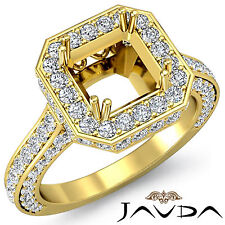Pave Diamond Engagement Filigree Ring Asscher Semi Mount 18k Yellow Gold 1.7Ct