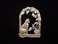 """""""JJ"""" Jonette Jewelry Silver Pewter 'Fern Draped Window' Cat Pin"""