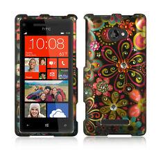 For HTC Windows 8X Spot Diamond Bling HARD Case Phone Cover Black Multi Flowers