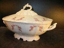 Vintage Austrian (Habsburg?) China Pink Floral CoveredSoup Tureen/Casserole Bowl