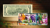 PLANET OF THE APES Colorized Genuine $2 Bill HAND-SIGNED by Rency with Holder