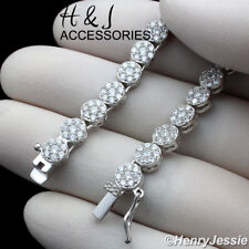"""30""""MEN 925 STERLING SILVER 5MM ICED 1 ROW FLOWER CLUSTER CHAIN NECKLACE*SN15"""