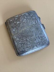🔥 Vintage Antique Silver Plated EPNS Hallmark Cigarette Case Stamped Hallmarked