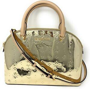 NWT Michael Kors Emmy Dome Large Mirror Metallic Satchel Bag Pale / Rose Gold