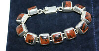 "Statement Mexican Real Sterling Silver Vintage Bracelet Square Brown Jasper 7.5"""