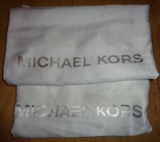 TWO NEW MICHAEL KORS SATIN DUST COVER WHITE DRAWSTRING 21X21