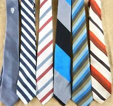 6 Striped Men's Ties Regular Classic Blue Orange Black  Polyester Silk T49JJ