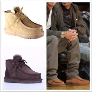 UGG Unisex Lace-up Premium Ankle Boots Australian Sheepskins Grip-sole Siz 5-12