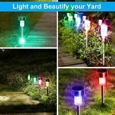 Solar Garden Path Lights Stainless Steel Led Pathway Landscape Yard Patio Lamps
