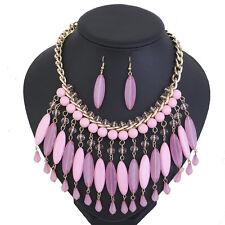 Women's Teardrop Beaded Gold Tone Bib Choker Necklace and Earrings Jewelry Set