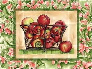 Ceramic Tile Mural Kitchen Backsplash Mullen Apple Basket Art SM048