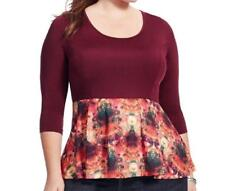 NWOT Jete burgundy + multi color abstract top women's plus size 2X