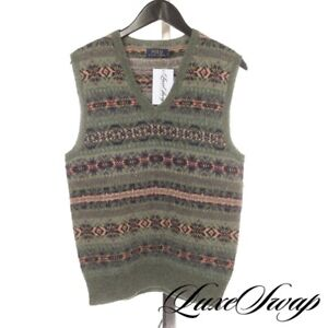 NWT #1 MENSWEAR Polo Ralph Lauren Alpaca Blend Green Multi Fair Isle Vest S NR