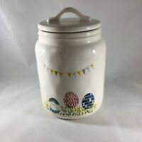 Rae Dunn Happy Easter Banner Eggs Large Canister