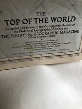 Vintage Original 1949 Top Of The World Map National Geographic