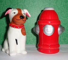 Cute Dog with Fire Hydrant Salt and Pepper Shakers