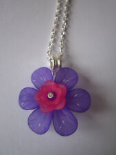 Ladies 17 inch Large Fuschia Necklace, Silver Plated -  Purple & Pink Flowers