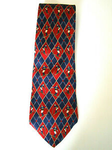 "Tommy Hilfiger Red and Blue Downhill Skier Men's Italian Silk Necktie 58""L 4""W"