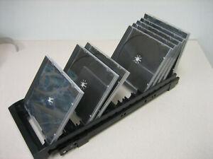DVD CD Organizer Rail Runner Black Plastic Cabinet Pull Slide Out Media Storage