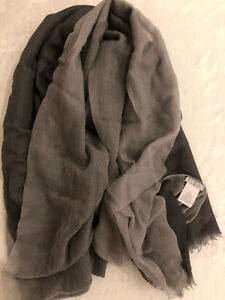 Authentic Brunello Cucinelli Gray Large Light Sheer 100% Cashmere Scarf Wrap