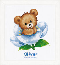 Flower Teddy : Vervaco Counted Cross Stitch Kit Birth Record - PN0011825