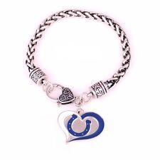 Indianapolis Colts Football Charm Swirl Heart Dangle Fashion Clasp Bracelet