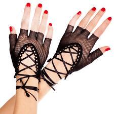 Dance Elastic Short Costume Lady Fingerless Gloves Hollow Mesh Fishnet Party