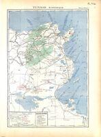 Empire Colonial Français Tunisie Economique Charbon Fer MAP CARTE ATLAS 1937