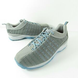 Pearl iZumi 5053 Gray Blue Mesh Cycling Sneakers Lace Up Clips - US Women's 8.5