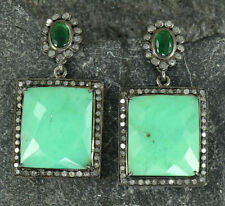 Silver Post Stud Earrings Se106 Chrysoprase Pave Diamond Oxidized 925 Sterling