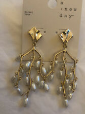 A New Day Gold Tone Faux Pearl Chandelier Earrings NWT