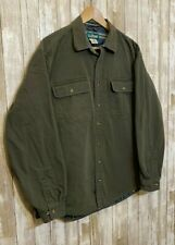 LL Bean Button Down Duck Canvas Jacket Flannel Lined Barn Field Green Size L
