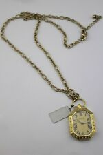 $58 CACHE Gold Tone Watch Time Piece Clock Pearl Chain Link Necklace NWT